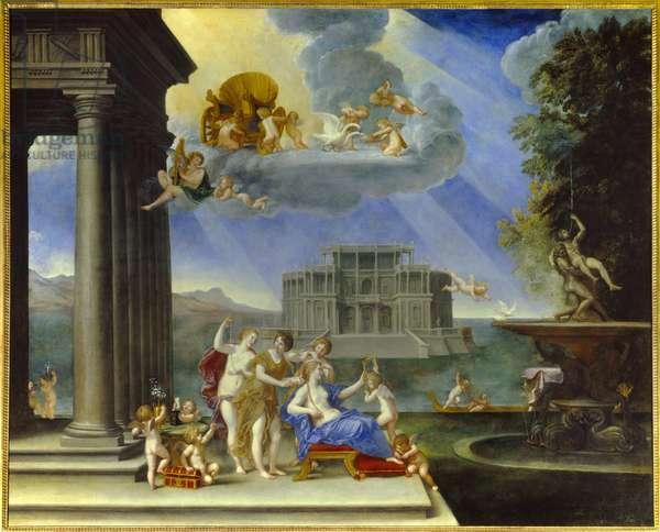 La toilette de Venus ou l'Air Peinture de Francesco Albani dit l'Albane (1578-1660) 17th century Sun. 2,02x2,52 m