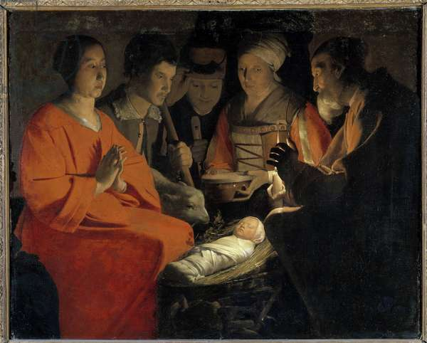 The Adoration of the Shepherds Painting by Georges de La Tour (1593-1652) 17th century Sun. 1,07x1,31 m Paris, Musee du Louvre