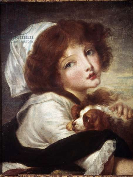 Young Girl with Little Dog Painting by Jean Baptiste Greuze (1725-1805) 18th century Paris, Musee Cognacq Jay.