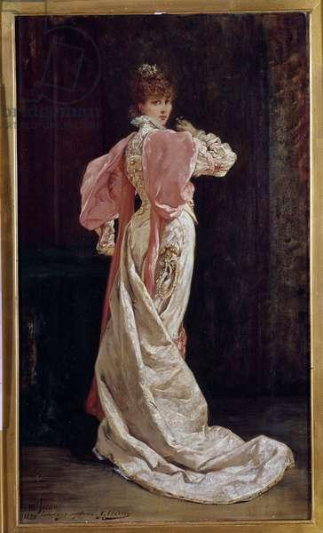 Portrait en pied de la comedienne francaise Henriette Rosine Bernard dit Sarah Bernhardt (1844-1923) Painting by Georges Jules Victor Clairin (1843 - 1919). 19th century. Paris, French comedie