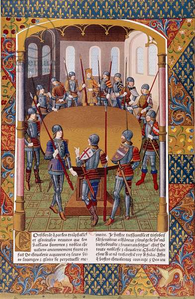 Representation of King Arthur and the Knights of the Round Table. Miniature from a manuscript, B.N, Paris