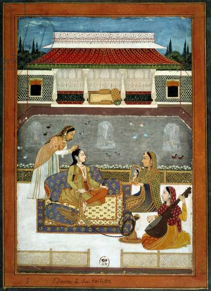 An Indian princess has her miniature toilet from the Mughole School of 1740.