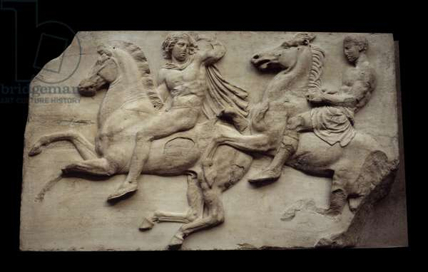 Greek art: galloping riders. Low marble relief from the western frieze of the Parthenon of Athenes. London, British museum