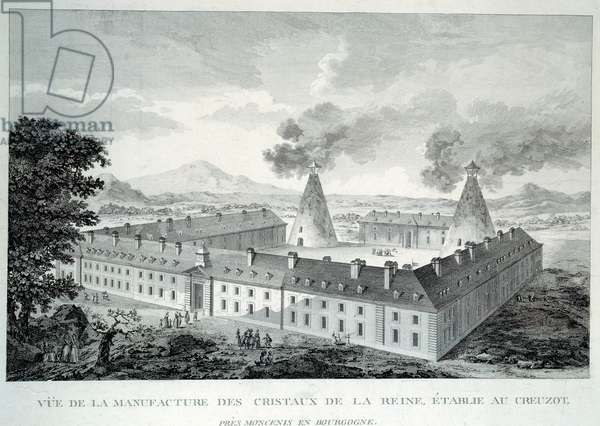 Crystal works of Queen Marie Antoinette at Creusot near Moncenis in Burgundy. Engraving from 1787. Le Creusot, Ecomusee