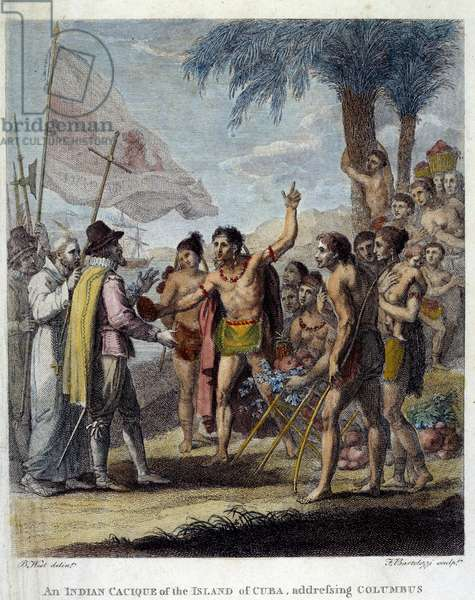 """An Indian Cacique from the island of Cuba welcomes Christopher Columbus (1451-1506) and European military and ecclesiastic representatives to discuss the creation of a new state. Frontispice of """"Civil and Commercial History of the British Colonies of the West Indies"""" by Bryan Edwards, drawing by Benjamin West (1738-1820) 1794. Chartres, Museum of Fine Arts"""