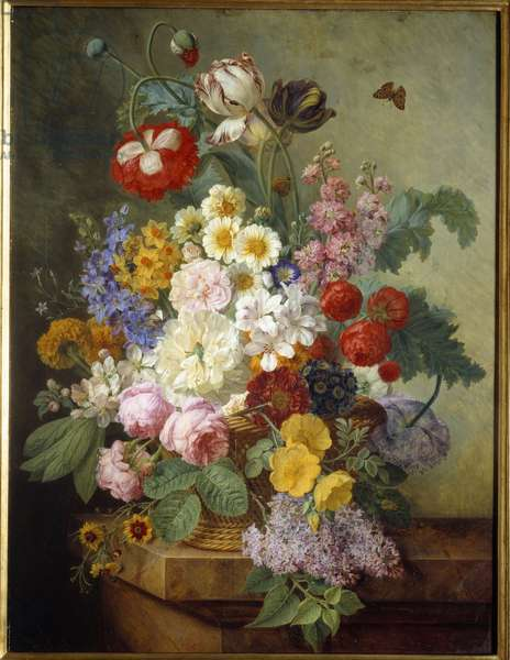 Flowers in a Rocaille Painting by Elise Bruyere (1776-1842) 1836 Sun. 0,84x0,64 m Rouen, musee des Beaux Arts - Flowers in a rock. Painting by Elise Bruyere (1776-1842), 1836. 0.84 x 0.64 m. Beaux-Arts Museum, Rouen, France