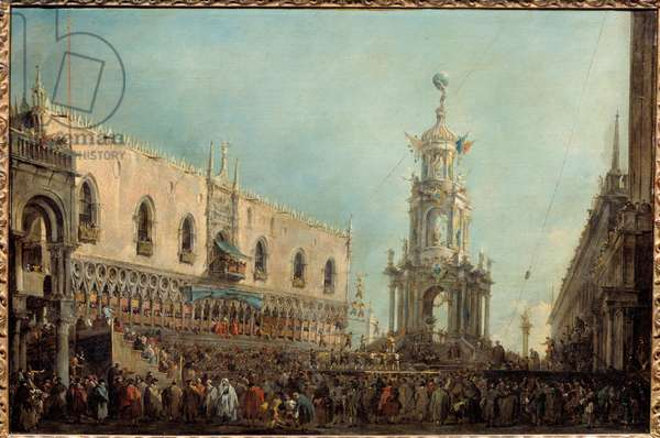 The Doge of Venice attends the Gras Thursday celebrations on Piazzetta di San Marco Doge Alvise IV Mocenigo (1701-1778) attends acrobatic performances from the balcony of the Doge's Palace. Painting by Francesco Guardi (1712-1793) 1766-1770 Sun. 0,67x1 m Paris, Musee du Louvre