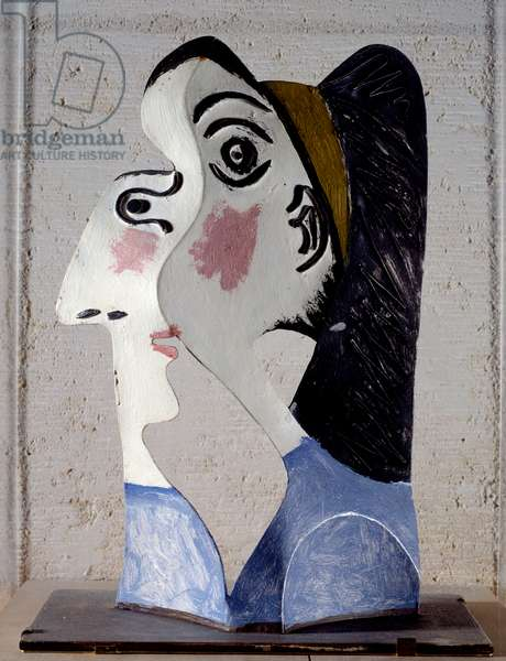 Woman's head. Work by Pablo Picasso (1881-1973), 1962. Tole. Paris, Musee Picasso.