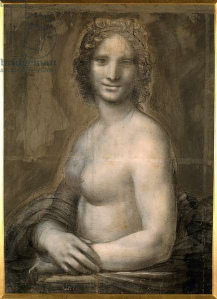 Study of female nude probably the Mona Lisa Bust denude assumes Mona Lisa (or Monna Lisa). Drawing on brown paper with black stone from the school of Leonard de Vinci (Leonardo da Vinci) (1452-1519) Dim. 0.72 X 0.54 m. Chantilly, Conde Museum