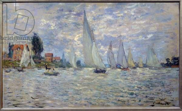 The boats. Regates a Argenteuil Painting by Claude Monet (1840-1926) 1874 Sun. 0,6x1 m Paris, musee d'Orsay - The boats or Regatta at Argenteuil. Painting by Claude Monet (1840-1926), circa 1874. 0.6 x 1 m. Orsay Museum, Paris