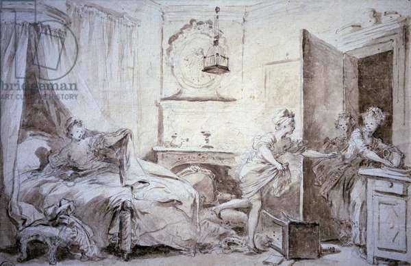 Ma shirt burn Drawing in the wash by Alexandre Evariste Fragonard (1780-1850) 18th century Sun. 0,24x0,37 m Paris, musee du Louvre