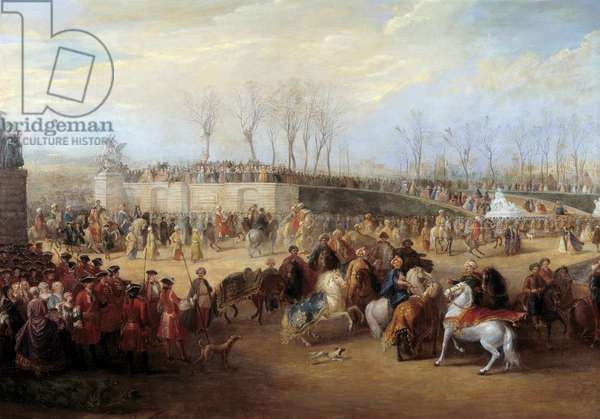 Reception of Mehemet Effendi Turkish ambassador of Grand Sultan Achmet by King Louis XV of France on March 21, 1721 at the Tuileries Detail. Painting by Charles Parrocel (1688-1752), 1723-1727. Sun. 3,48x7 m Versailles, castle museum