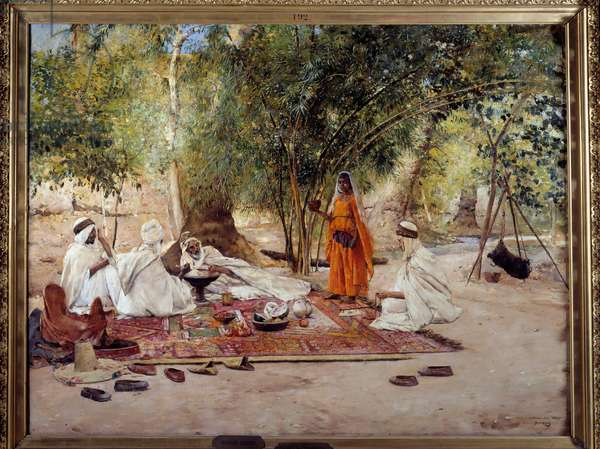 """Orientalism: """""""" the meal of hospitality"""""""""""" Scene of Arab life in the oasis of Chelma near Biskra, Algeria. Painting by Maurice Bompard (1857-1936) 1891 Marseille, Musee des Beaux Arts"""