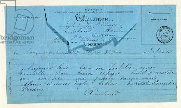 Telegram from Rimbaud to his mother, Marseille, May 22, 1891. Charleville, Musee Rimbaud.
