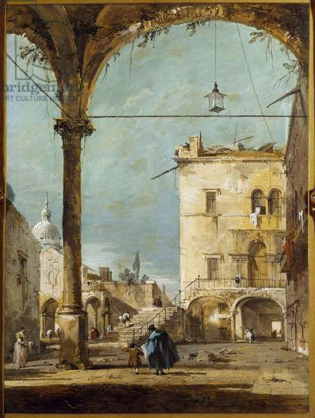 A portico in Venice Painting by Francesco Guardi (1712-1793) 18th century Paris, Musee Jacquemart Andre