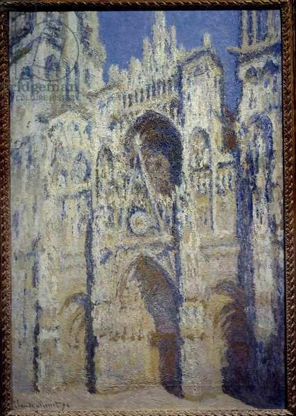 La cathedrale de Rouen, le portal et la tower Saint Romain, plein soleil harmony bleu et gold Painting by Claude Monet (1840-1926) 1893 Sun. 1,07 x 0,73 m Paris, musee d'orsay - The west portal of Rouen Cathedral and Saint-Romain Tower. Full Sunlight. Harmony in blue and gold. Painting by Claude Monet (1840-1926), 1893. 1.07 x 0.73 m. Orsay Museum, Paris