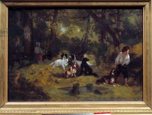 Le valet de chiens Painting by Narcisse Diaz de la Pena (1807-1876) (ec. de Barbizon) 19th century Sun. 0,29x0,42 m Paris, Musee du Louvre