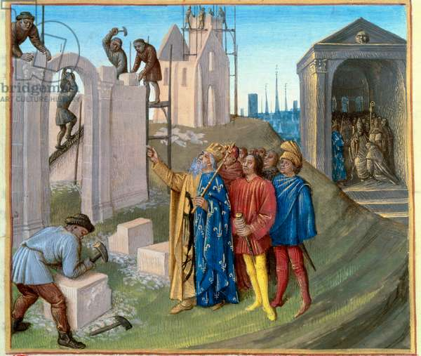 """Construction of the palace of Aachen (796-805) by Charlemagne (742-814) who oversees the construction site. On the right, Pepin the Humpback (770-811) becoming a monk. Miniature from """""""" Les Grandes Chronicles de France"""""""" enluminated by Jean Fouquet (1420-1481), circa 1455-1460. Manuscript 6465, fol. 96. Paris, B.N"""