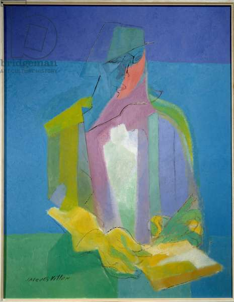 The scribe. Painting by Jacques Villon (1875 - 1963), 1949. Oil on canvas. Sun: 0,92 X 0,75m. Caen, Museum of Fine Arts.