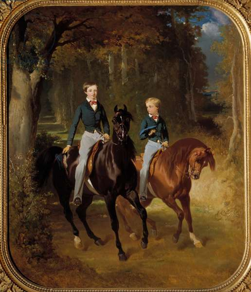 Equestrian portrait of Louis Philippe Albert d'Orleans, Count of Paris (1834-1894) and Robert d'Orleans, Duke of Chartres (1840-1910) in the park of claremont Painting of Alfred de dreux (1810-1860) 1849 Sun. 1,07x0,87 m