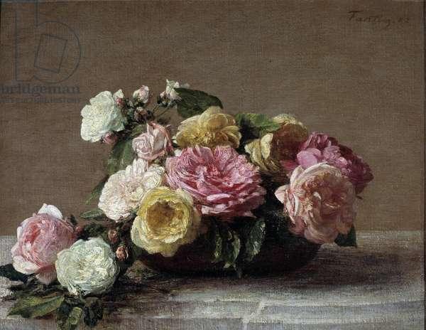 Roses in a Cup Painting by Henri Fantin Latour (Fantin-Latour, 1836-1904) 1882 Dim. 0,36 x 0,46 m Paris, musee d'Orsay - Roses in a bowl. Painting by Henri Fantin Latour (Fantin-Latour, 1836-1904), 1882. 0.36 x 0.46 m. Orsay Museum, Paris