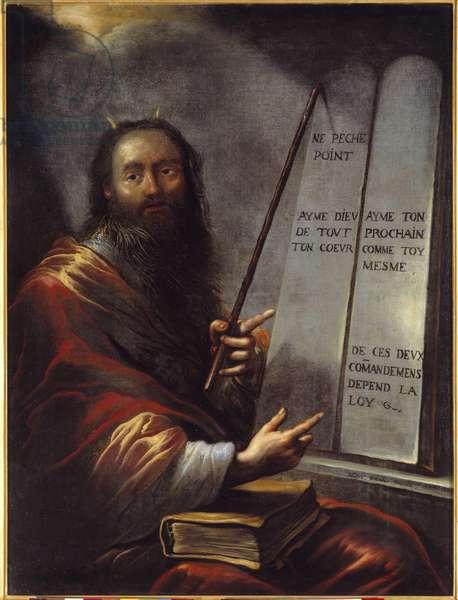 Moise et les Tables de la Loi Painting by Claude Vignon (1593-1670) 17th century Sun. 1,29x0,9 m Rouen, Musee des Beaux Arts