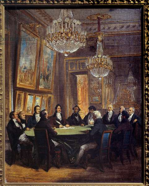 The Duke of Orleans signing the proclamation of the lieutenant general of the kingdom on 31/07/1830 at the Royal Palace Louis Philippe d'Orleans (who became King Louis Philippe I) (1773-1850) (signing the document) took the title of lieutenant general after the July Revolution 1830. Near him was his son Ferdinand Philippe (Ferdinand-Philippe) d'Orleans (1810-1842). Painting by Joseph Court (1797-1865) 1830 Sun. 0,41x0,32 m Paris, Musee Carnavalet