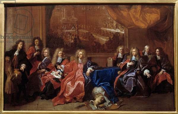 The prevot and the echevins of the city of Paris deliberating on the commemoration of the dinner offered to Louis XIV at the Hotel de Ville after his war in 1687. Painting by Hyacinthe Rigaud (1659-1743), 1689. Oil on canvas. Amiens, Musee De Picardie