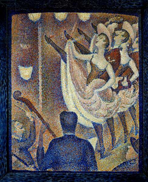 Study for the chahut Danceuses de chahut, dance a scandal, dance form that appeared at the same time as the French Cancan, around 1830 in Montparnasse. Painting by Georges Seurat (1859-1891) 1889 Buffalo. Albright Knox Art Gallery - Study for Le Chahut. Dancers, French scandalous dance like the French cancan. Painting by Georges Seurat (1859-1891), 1889. Albright Knox Art Gallery, Buffalo, USA