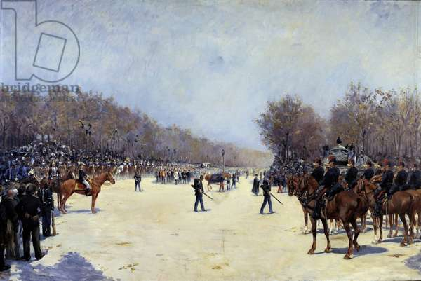 The funeral of the French president Mac Mahon 22/10/1893 Painting by Ernest Jean Delahaye (1855-1920) 1893 Sun. 1,30 x 1,96 m.