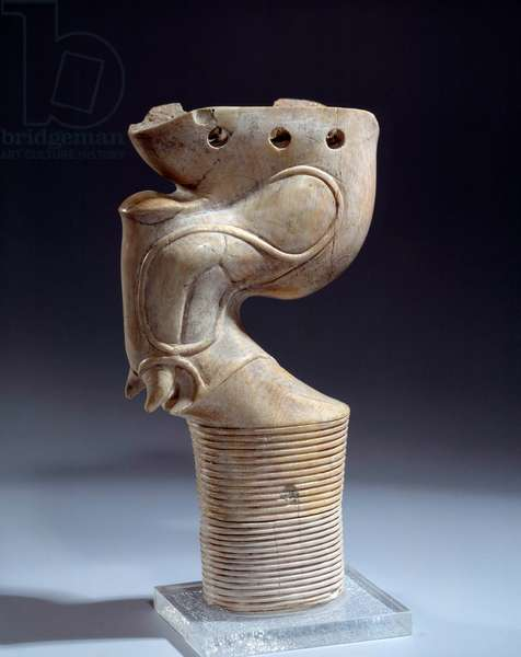 Egyptian antiquite: ivory stand in the shape of a bull's paw. Period Thinite (3100-2700 BC) Paris, musee du louvre