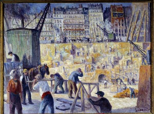 A construction site in Paris in 1912 Painting by Maximilien Luce (1858-1941) 1912 Dim. 0,6x0,81 m Rouen, Musee des Beaux Arts