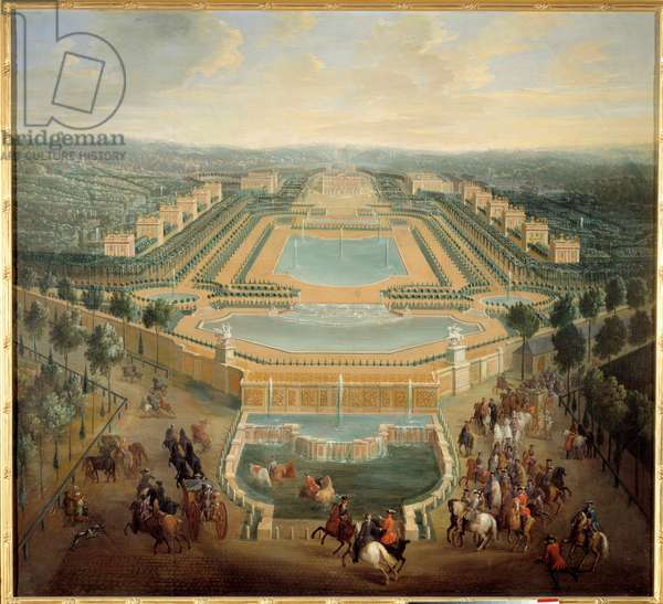 Perspective view of the castle of Marly, King Louis XV (1710-1774) in carriage leaves the castle Painting by Pierre Denis Martin (1663-1742) 18th century Sun. 1,37 x 1,55 m Versailles, musee du chateau - Perspective view of the castle of Marly, King Louis XV (1710-1774) leaves the castle in a carriage. Painting by Pierre Denis Martin (1663-1742), 18th century. 1,37 x 1,55 m. Castle Museum, Versailles, France