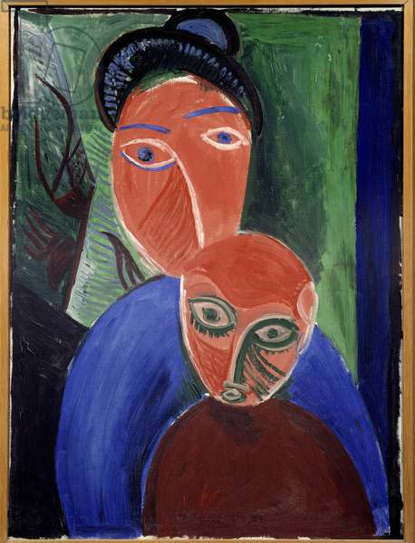 Mother and Child Painting by Pablo Picasso (1881-1973) 1907 Sun. 0,81x1,6 m Paris, Musee Picasso