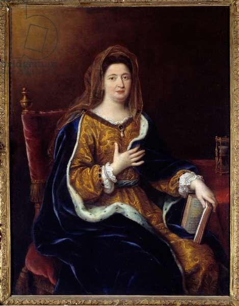 Portrait of Francoise d'Aubigne, Marquise (Madame) de Maintenon (1635 - 1719), mistress of Louis XIV. Painting by Pierre Mignard (1612-1695), 1694. Oil on canvas. Dim: 1,28 x 0,97m.