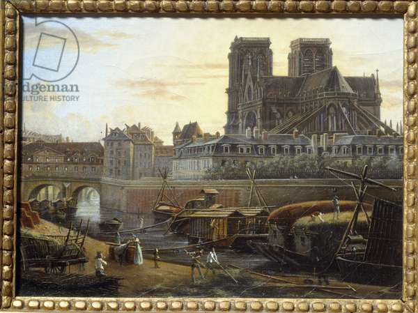The Saint Charles bridge, the hotel dieu, the archeveche and Notre Dame seen from the Quai de la Tournelle in Paris. Painting by Giuseppe Canella (1788-1847) EC.ITAL., 1820. Oil on cardboard. Dim: 0.16 x 0.22m. Paris, Musee Carnavalet