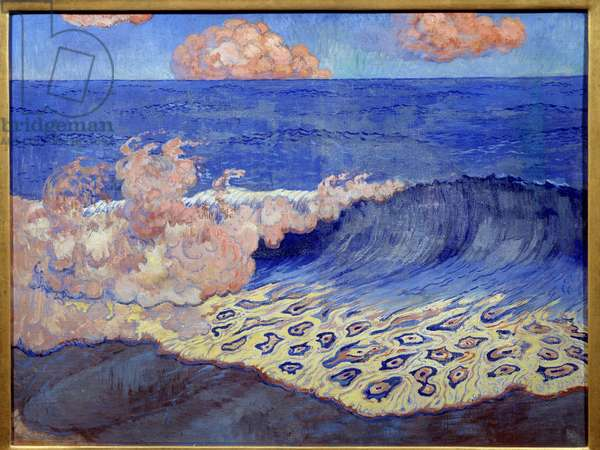 Blue Navy, wave effects. Painting by Georges Lacombe (1868-1916), 1893. Oil on canvas. Dim: 0.49 X 0.64m. Rennes, Musee Des Beaux Arts - Blue seascape, waves effects. Painting by Georges Lacombe (1868-1916), 1893. Oil on canvas. 0.49 x 0.64 m. Beaux-Arts Museum, Rennes, France