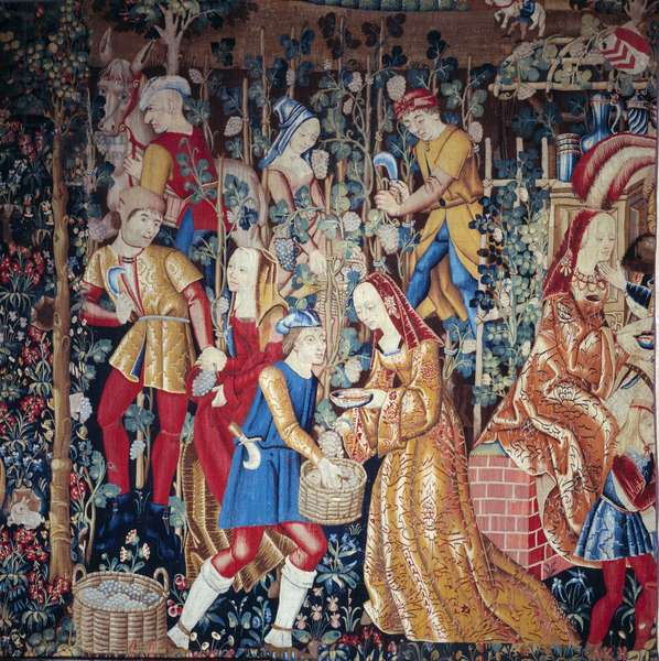 The Harvest Peasants pressing grapes. Detail. Wool and silk tapestry. The beginning of the 16th century. Paris, National Museum of the Middle Ages, Thermes de Cluny