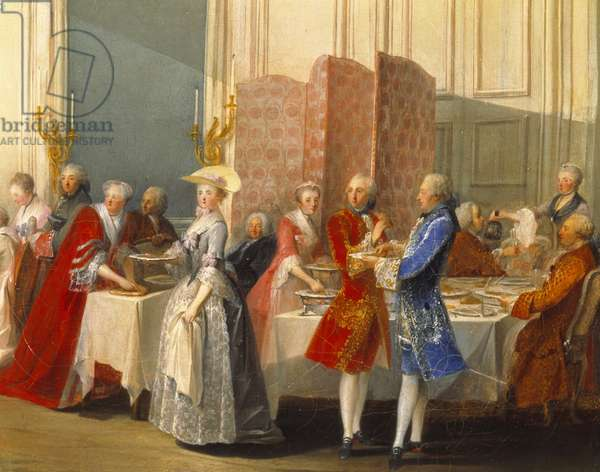 """Buffet with guests next to a screen. Detail of """""""" Le The a l'Englishman served in the Salon des Quatre-Glaces (Quatre Glaces) at the Palais du Temple in Paris in 1764"""""""" The scene takes place in the presence of young Wolfgang Amadeus Mozart (1756-1791) playing harpsichord and court of the prince of Conti. Painting by Michel Barthelemy Ollivier (1712-1784) 1766. Dim. 0,53x0,68m."""