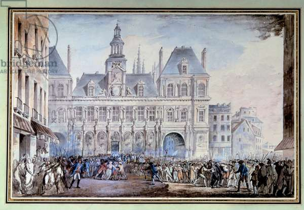 view of the Place de Greve on 14 July 1789 Place de Greve in Paris (present place de l'Hotel de Ville on 14/07/1789, the day of the capture of the Bastille during the French Revolution of 1789. Anonymous watercolour, 1789. Paris, Library of the Arsenal
