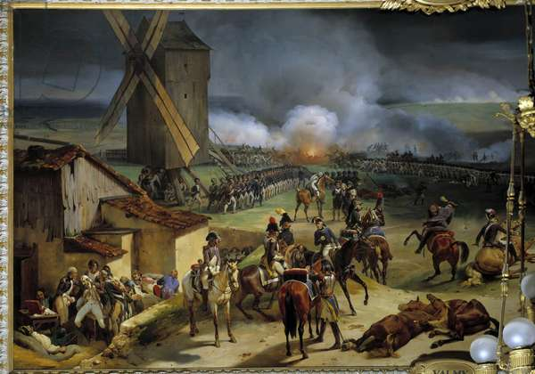 The Battle of Valmy on September 20, 1792, victory of Dumouriez and Kellermann. Battle of the war between Prussia and France led by Francois Christophe Kellermann (1735-1820) and Charles Francois du Perier, dit Dumouriez (1739-1823). Painting by Jean Baptiste Mauzaisse (1784 - 1844), 19th century. Oil on canvas. Dim: 2.96 x 6.78m.