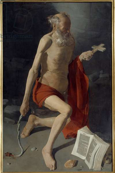 Saint Jerome. Painting by Georges De La Tour (1593-1652), 1639. Oil on canvas. Dim: 1,57 x 1,00m. Grenoble, Museum of Fine Arts