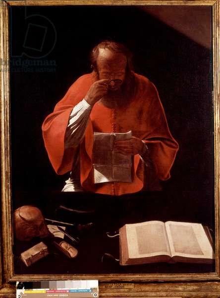 Representation of Saint Jerome reading Painting by Georges de la Tour (1593-1652) 17th century Sun. 1,22x0,93 m .
