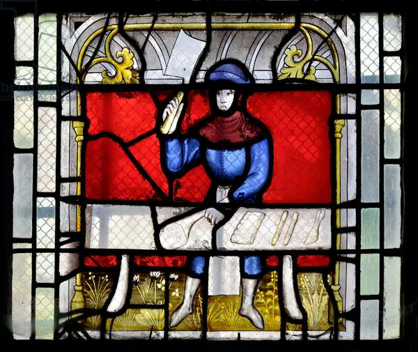 Stained glass window showing a butcher at work, end 15th-beginning 16th Century - Chapel Sainte Claude (Sainte-Claude) of the Church Collegiale Notre-Dame de Semur-en-Auxois (Notre Dame de Semur en Auxois), Burgundy