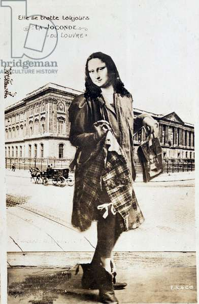 "Detournee representation of ""The Mona Lisa"" by Leonard de Vinci (Leonardo da Vinci) (1452-1519): Mona Lisa (Monna Lisa) represented in a plaid skirt traveling around the world. Comedy postcard edited at the time of the theft of the work by Vincenzo Peruggia (1881-1925) which took place on 21/08/1911 Private collection"