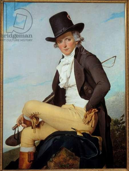Portrait of Pierre Seriziat (1757-1847) handsome brother of the artist Painting by Jacques Louis David (1748-1825) 1795, oil on wood, Dim. 1,29x0,95 m  - Portrait of Pierre Seriziat (1757-1847), the artist's brother-in-law. Painting by Jacques Louis David (1748-1825) 1795. 1.29 x 0.95 m. Louvre Museum, Paris