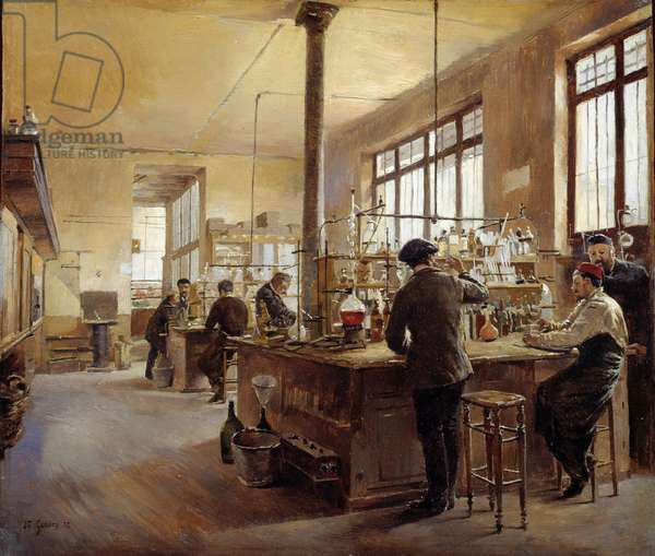 The municipal laboratory has the police prefecture boulevard du palace. Painting by Ferdinand Joseph Gueldry (1858-1945), 1887. Oil on wood. Dim: 0,24 x 0,28m. Paris, Musee Carnavalet