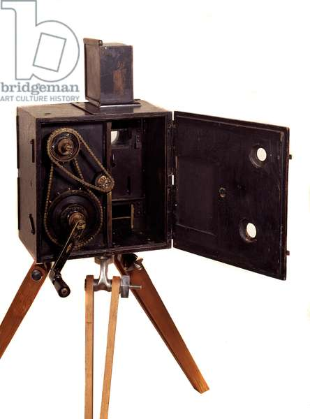 "Cinematography apparatus """" Lumiere"""" invented by brothers Louis and Auguste Lumiere, French engineers, 19th century. Paris, Conservatoire national des arts et metiers"