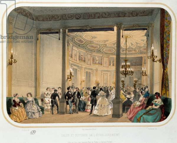 "Thermalism: """" Salon and rotunda of an establishment in Vichy at the time of a worldly reception"""". Lithograph of 19th century Paris. Decorative Arts"