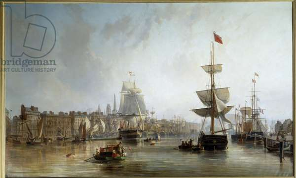 The Port of Rouen in 1855 Painting by Charles Louis Mozin (1806-1862) 1855 Sun. 1,77x2,87 m Rouen, Musee des Beaux Arts